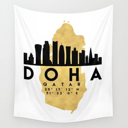 DOHA QATAR SILHOUETTE SKYLINE MAP ART Wall Tapestry