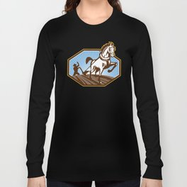 Farmer and Horse Plowing Farm Retro Long Sleeve T-shirt
