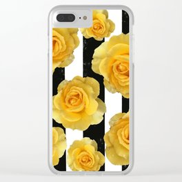 Yellow Roses on Black & White Stripes Clear iPhone Case