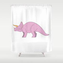 Triceratops dinosaur pink dino minimal style Shower Curtain