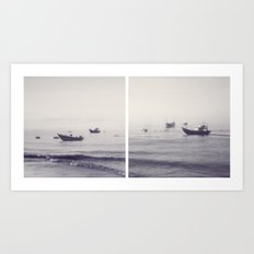 Over the Ocean They Gaily Ride Art Print