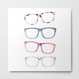 Bespectacled // Watercolor Glasses Print Metal Print