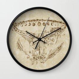 Steer Skull Bird Nest Feathers Roses Moons Mandala Brown Tan Wall Clock