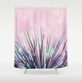 Vintage Yucca Palm - Pink Shower Curtain