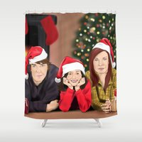 allison argent Shower Curtains featuring Merry Christmas - Argent Family by Finduilas