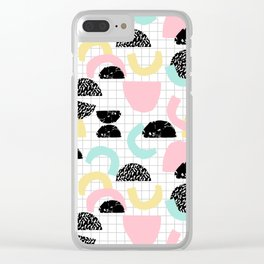 Pretty Much - abstract minimal memphis 80s style retro throwback grid pattern design Clear iPhone Case
