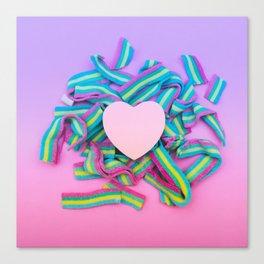 the heart on rainbow bubble gum Canvas Print