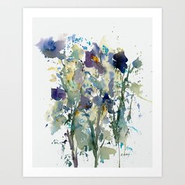 Iris Garden watercolor painting Art Print