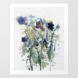 Iris Garden watercolor painting Art Print
