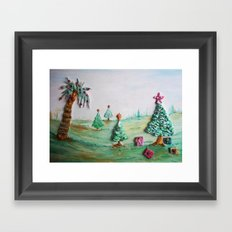 Tropical Christmas Whimsical Scenery  Framed Art Print