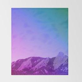 Boulder Colorado Flatirons Decor \\ Chautauqua Park Purple Pink Blue Green Nature Bohemian Style Art Throw Blanket