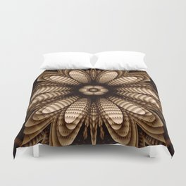Abstract flower mandala with geometric texture Duvet Cover