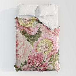 Vintage & Shabby Chic Floral Peony & Lily Flowers Watercolor Pattern Bettbezug
