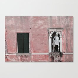 Pink and Black Venetian Building Canvas Print