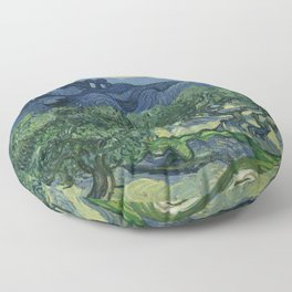 Vincent van Gogh - Olive Trees in a Mountainous Landscape Floor Pillow