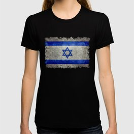 National flag of the State of Israel with distressed worn patina T-shirt