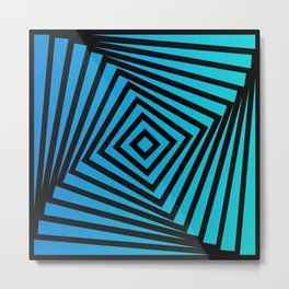 Squares twirling from the Center. Optical Illusion of Perspective bu Squares twirling Metal Print