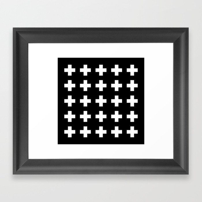 Swiss Cross Black Gerahmter Kunstdruck
