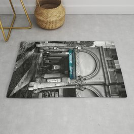 Black and White Bologna Street Photography Vector Green Rug
