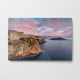 Dubrovnik's cliffs at sunset. Metal Print