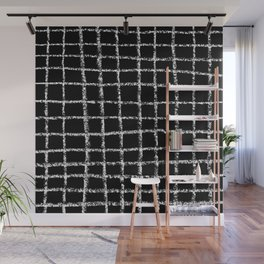 Black and white grid abstract minimal gridded pattern gifts basic nursery home decor Wall Mural