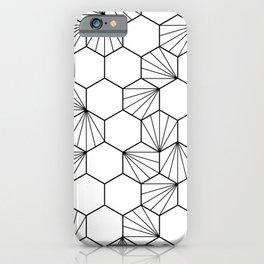 Peacock comb black white geometric pattern iPhone Case