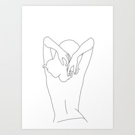 Woman's body line drawing - Cece Art Print