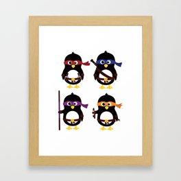 Penguin ninjas Framed Art Print