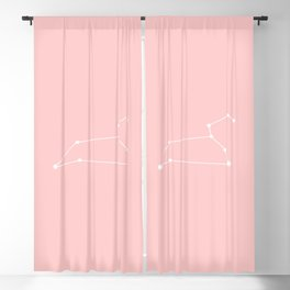 Leo Star Sign Soft Pink Blackout Curtain