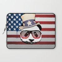 patriotic Laptop Sleeves featuring Patriotic Panda by crayzeestuff