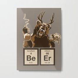 Funny chemistry bear discovered beer Metal Print