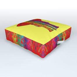 Rainbow Ganesha (Yelow Background) Outdoor Floor Cushion