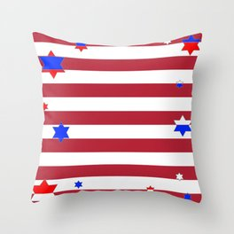 PATRIOTIC JULY 4TH  RED STARS DECORATIVE DESIGN Throw Pillow
