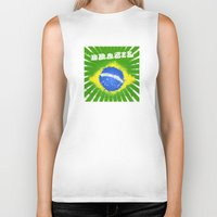 brazil Biker Tanks featuring Brazil  by morganPASLIER