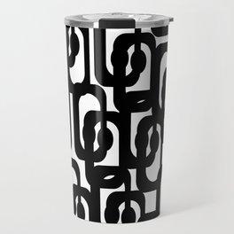 Black and White Mid-century Modern Loop Pattern Travel Mug
