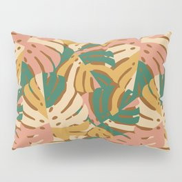 Monstera Leaves - Gold - Green - Pink Pillow Sham