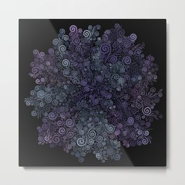 3d Psychedelic Violet and Teal Metal Print