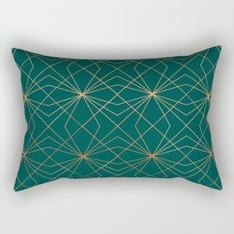 Emerald & Copper Geo Lines Rectangular Pillow
