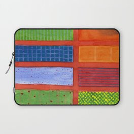Large rectangle Fields between red Grid Laptop Sleeve