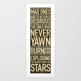 Jack Kerouac Mad Ones Quote Art Print
