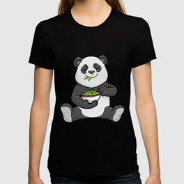 Panda as Vegetarian with Chopstick and Bowl Salad T-shirt