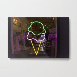 Ice Cream Neon Metal Print