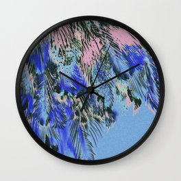 feather texture in blue and light pink Wall Clock