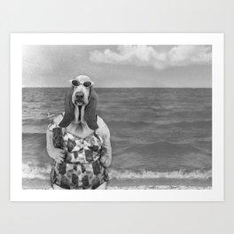 Basset Hound Beach Party Art Print