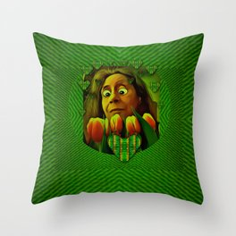 lady cartoon love her tulips in peace Throw Pillow