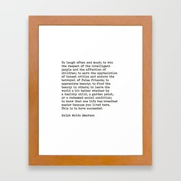 To Laugh Often And Much, Success, Ralph Waldo Emerson Quote. Framed Art Print