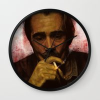 true detective Wall Clocks featuring True Detective - Ray Velcoro by p1xer