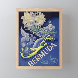 Vintage Mermaid Bermuda Framed Mini Art Print