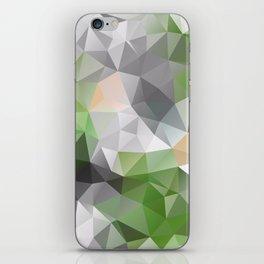 Grey green polygonal pattern iPhone Skin