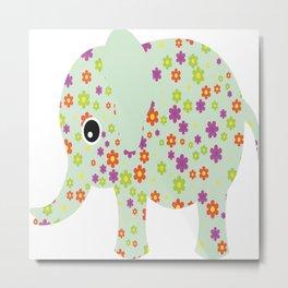 cute floral elephant Metal Print